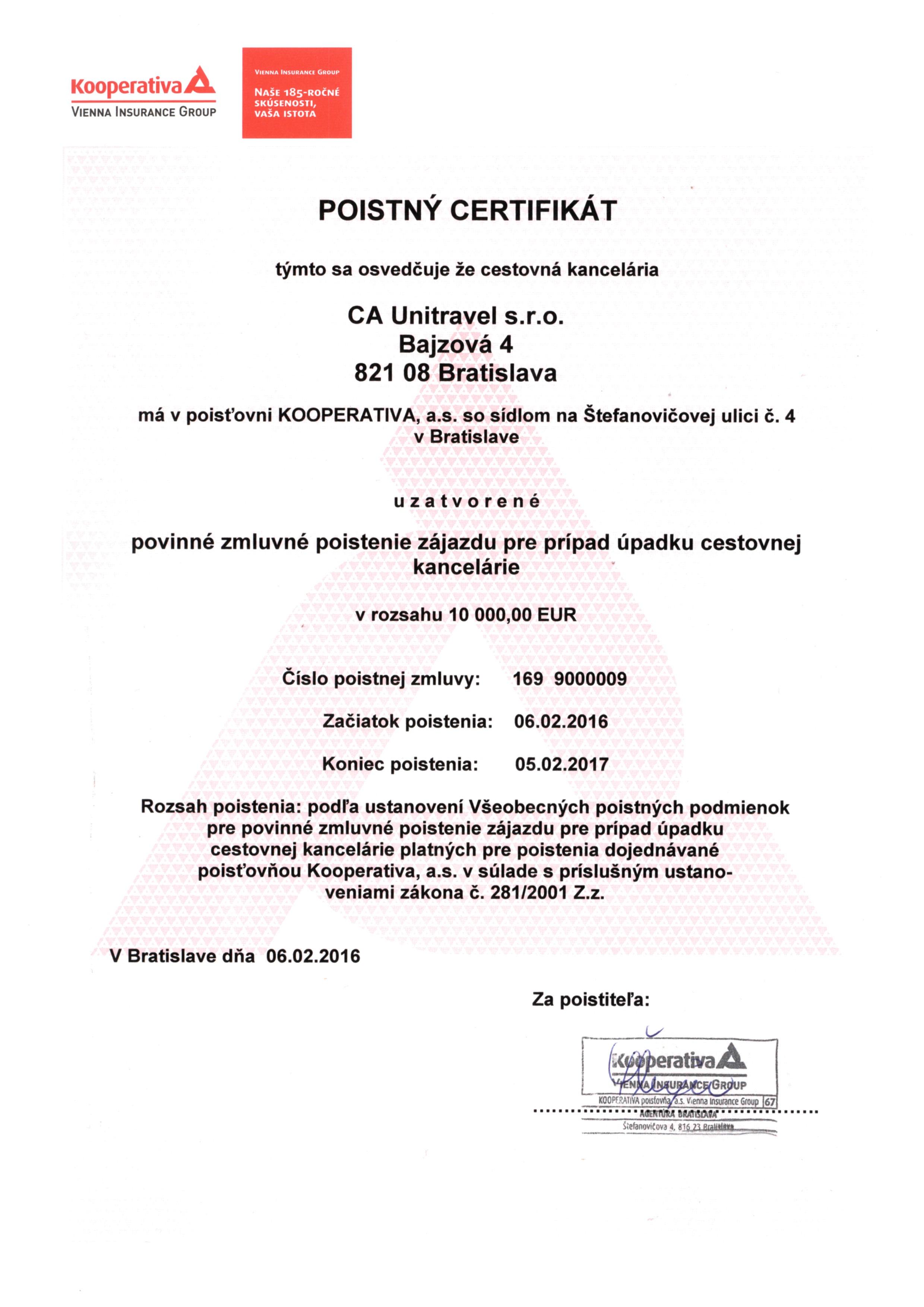 poistny certifikat